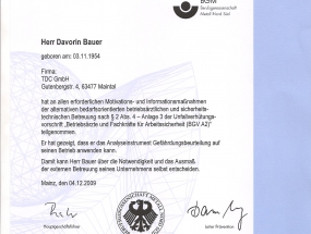 BGM - Zertifikat - Davorin Bauer